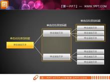 黄色水晶风格PPT组织结构图
