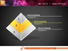 黄色立体水晶风格金字塔PPT图表下载