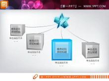 蓝色水晶立体扩散聚合关系PPT图表