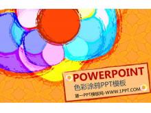 彩色涂鸦背景艺术PowerPoint模板下载