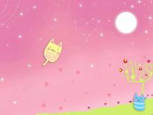 粉色猫星星空PowerPoint背景图片