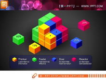 魔方背景的并列组合关系PPT图表