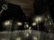 夜晚路灯下的街市PPT背景图片