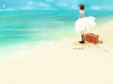 海边沙滩上的女孩PPT背景图片