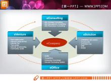 六张色彩构成的聚合关系图PPT图表
