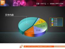 色彩鲜艳的饼状图PPT图表