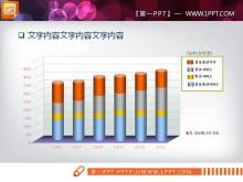 彩色立体柱状图PPT图表