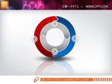 彩色立体循环关系PPT图表
