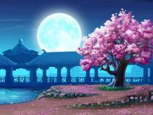 圆圆的月亮和烂漫樱花PPT背景图片