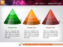 3张立体水晶锥形图层级关系幻灯片图表
