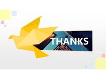 黄色纸鹤折纸背景谢谢PPT背景模板