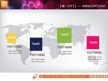 世界地图背景扁平实用PPT图表免费下载