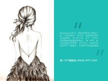 清新女孩背景艺术PPT模板