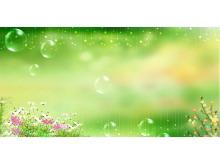 星星水泡鲜花绿色PPT背景图片