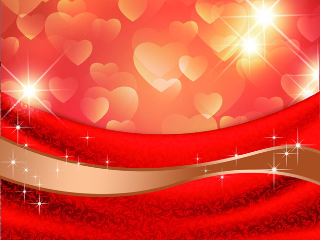 红色花纹心形图案PPT背景图片