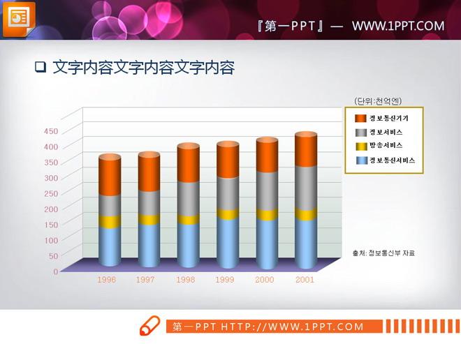 这是一张彩色立体柱状图ppt图表,第一ppt模板网提供幻灯片图表免费