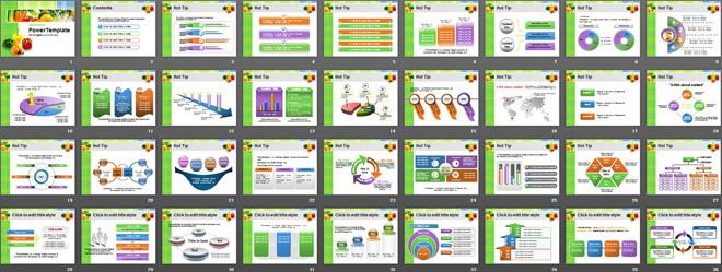 绿绿色蔬菜背景的食品PPT模板