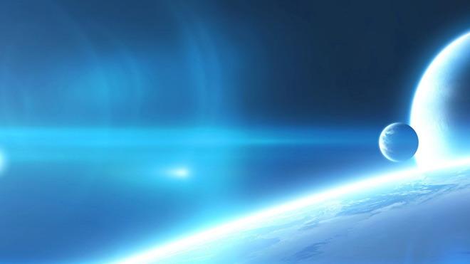 蓝色地球科技PPT背景图片
