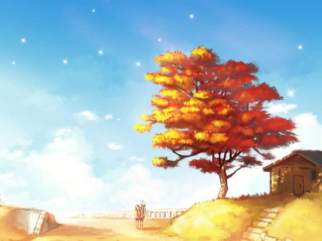 大树下面是简单的房子,一对情侣漫步在黄色的土地上,远离钢筋水泥结构