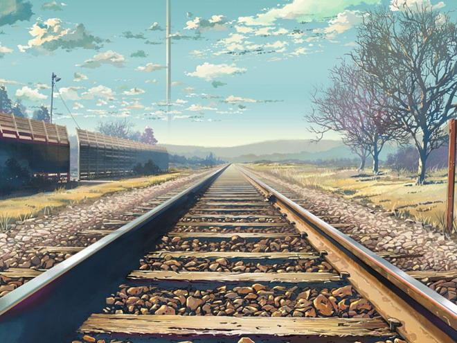 唯美铁路背景ppt背景图片