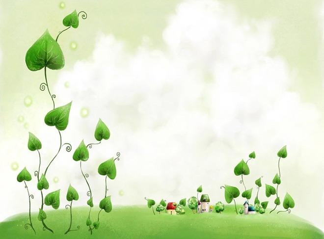 這是一套綠色植物卡通ppt背景模板,第一ppt模板網提供幻燈片背景圖片