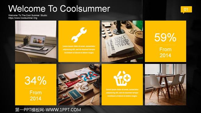 动态黄黑色IOS风格商务PPT模板