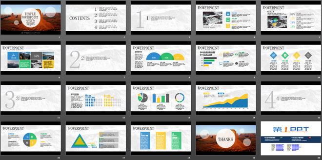 这是一套简单大气自然PPT模板,第一PPT模板网提供幻灯片模板免费下载。 PPT模板采用了扁平化的设计风格,首页用高原风光作为幻灯片背景图片,给人豁达广阔的感受;PPT模板内容页用淡淡的黑白风光风景图片作为PPT背景,幻灯片模板内容页包括:PPT目录,PPT内容呈现,饼状图,扇形图,三角形包含关系,折线图等PPT素材,PPT图表,PPT关系图;本套PowerPoint适合制作自然风景介绍PowerPoint,地理课件PPT等; 关键词:简洁、简约、简单PPT模板,大气、褐色PPT背景图片,自然PPT模板