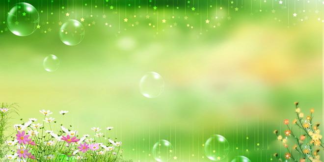 星星水泡鲜花绿色ppt背景图片图片