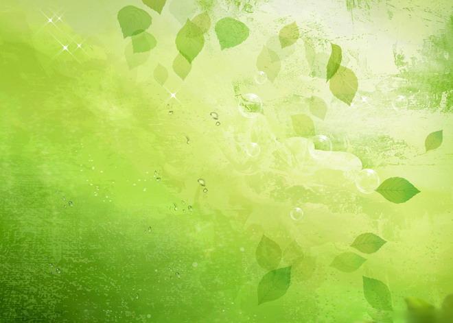 这是一张绿色透明叶子唯美PPT背景图片,第一PPT模板网提供幻灯片背景图片免费下载; PPT背景图片,在带有机理效果的绿色背景上面有透明的叶子,水泡,和闪闪发亮的星星;本PPT背景图片适合制作唯美的PowerPoint; 关键词:绿色PPT背景,叶子PPT背景图片,唯美PPT背景图片,.JPG格式;