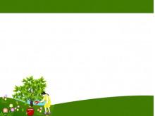 卡通人物花卉树木PPT背景图片