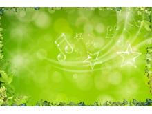 藤蔓植物透明音符PPT背景边框