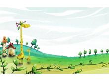 一组卡通长颈鹿鲸鱼城堡PPT背景图片