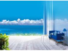 蓝天白云下海岸上的家居PPT背景图片
