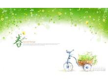 一组绿色春天的彩绘PPT背景图片