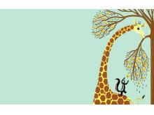 一组卡通动物PPT背景图片