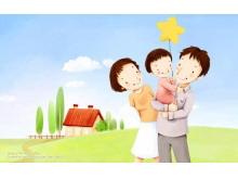 美丽心情人物卡通PPT背景图片