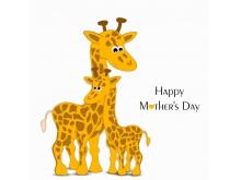 母爱系列卡通动物PPT背景图片