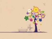 太阳花大树房子卡通PPT背景图片