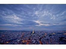 蓝紫色现代都市PPT背景图片
