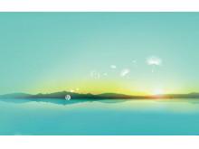 夕阳海天一色PPT背景图片