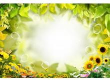黄色绿色叶子边框PPT背景图片