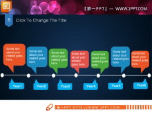 扁平风格化经典彩色PPT图表