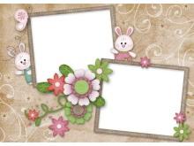 两张花卉卡通边框PPT背景图片