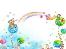 彩虹风车六一儿童节PPT背景图片