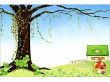 褐色大树卡通PPT背景图片