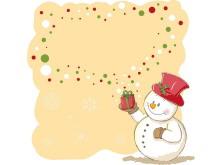 雪人黄色背景边框PPT背景图片