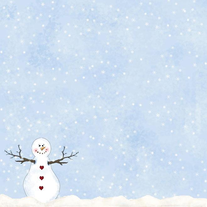 一组雪花松树雪人圣诞节PPT背景图片