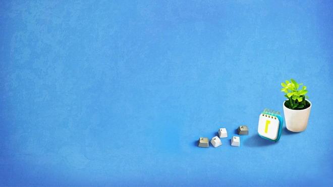 一组鲜花花瓶花盆日历静物PPT背景图片