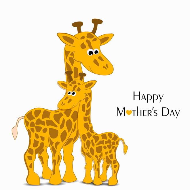 系列卡通动物ppt背景图片    第一张ppt背景图片是梅花鹿妈妈和鹿宝宝