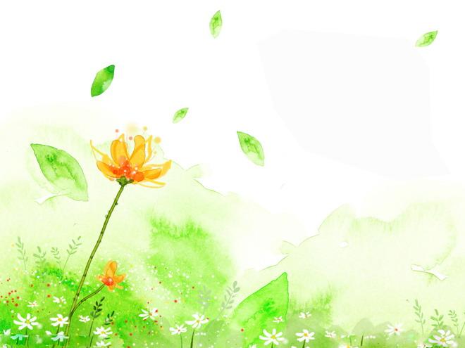 彩绘系列卡通花卉ppt背景图片